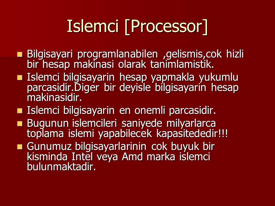 Islemci [Processor] Bilgisayari programlanabilen ,gelismis,cok hizli bir hesap makinasi olarak tanimlamistik.
